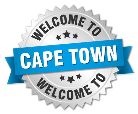 silvery: Cape Town 3d silver badge with blue ribbon Illustration