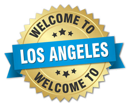 los angeles: Los Angeles 3d gold badge with blue ribbon Illustration