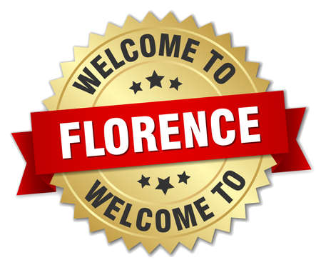 florence: Florence 3d gold badge with red ribbon