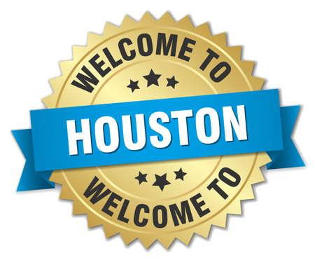 houston: Houston 3d gold badge with blue ribbon Illustration