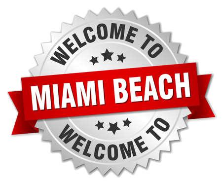 miami: Miami Beach 3d silver badge with red ribbon