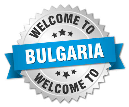 Bulgaria 3d silver badge with blue ribbon