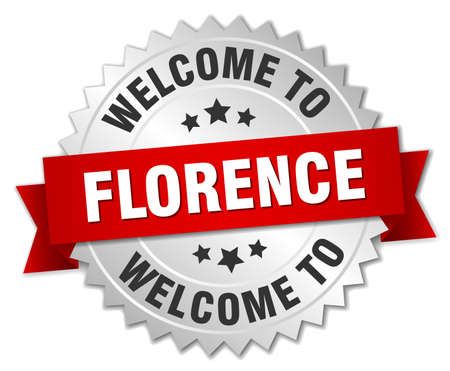 florence: Florence 3d silver badge with red ribbon Illustration
