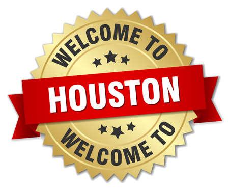 houston: Houston 3d gold badge with red ribbon Illustration