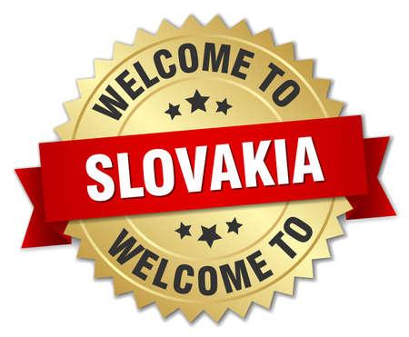 slovakia: Slovakia 3d gold badge with red ribbon