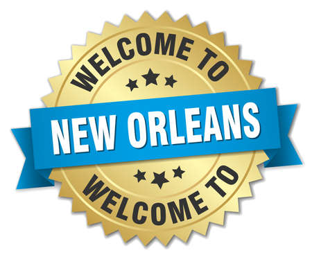 orleans: New Orleans 3d gold badge with blue ribbon Illustration
