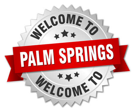 palm springs: Palm Springs 3d silver badge with red ribbon