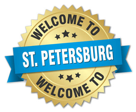 st petersburg: St. Petersburg 3d gold badge with blue ribbon