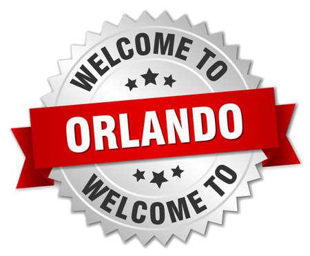 orlando: Orlando 3d silver badge with red ribbon Illustration