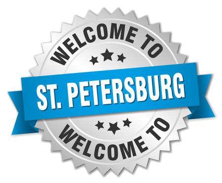 st petersburg: St. Petersburg 3d silver badge with blue ribbon