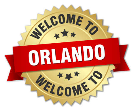 orlando: Orlando 3d gold badge with red ribbon