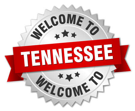 tennesse: Tennessee 3d silver badge with red ribbon