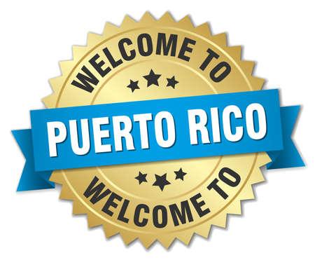 puerto rico: Puerto Rico 3d gold badge with blue ribbon