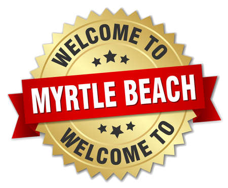 myrtle: Myrtle Beach 3d gold badge with red ribbon