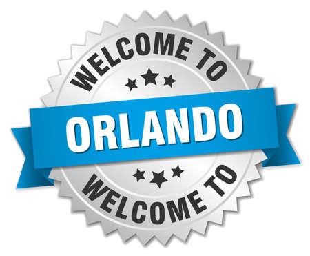 orlando: Orlando 3d silver badge with blue ribbon Illustration