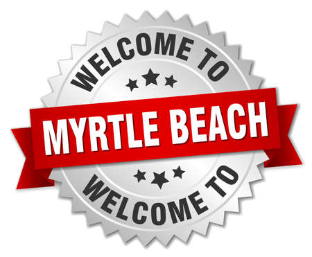 myrtle: Myrtle Beach 3d silver badge with red ribbon Illustration
