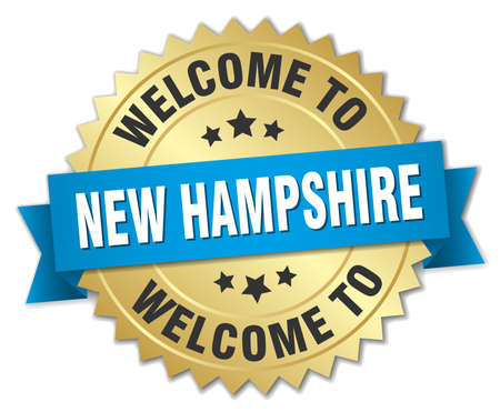 hampshire: New Hampshire 3d gold badge with blue ribbon Illustration