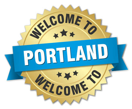 portland: Portland 3d gold badge with blue ribbon