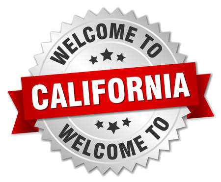 greet: California 3d silver badge with red ribbon Illustration