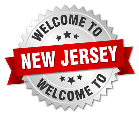 new jersey: New Jersey 3d silver badge with red ribbon