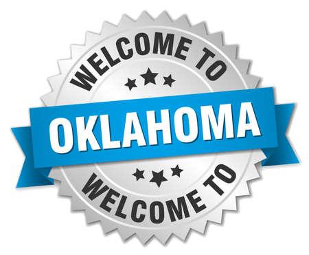 oklahoma: Oklahoma 3d silver badge with blue ribbon Illustration