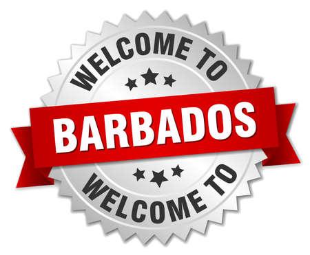 barbados: Barbados 3d silver badge with red ribbon