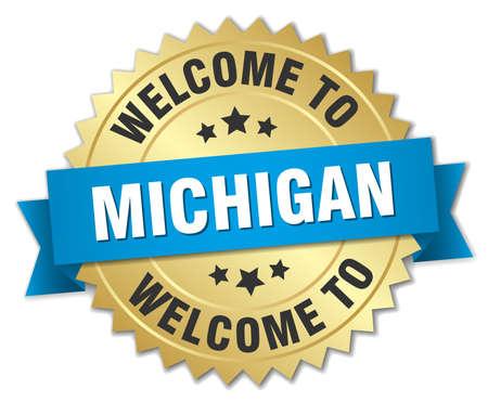 michigan: Michigan 3d gold badge with blue ribbon