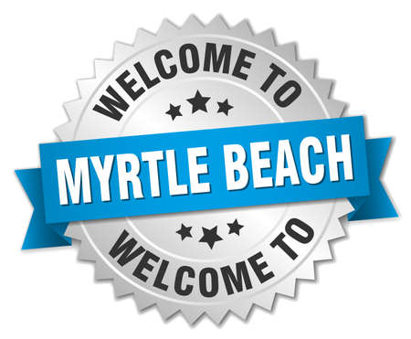 myrtle: Myrtle Beach 3d silver badge with blue ribbon