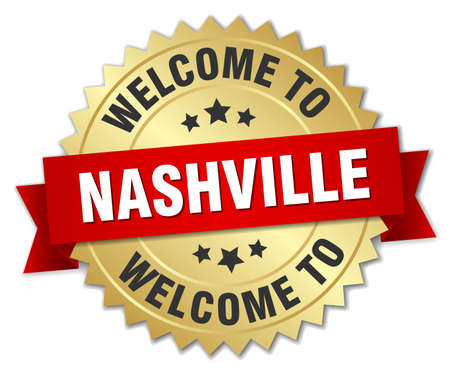 nashville: Nashville 3d gold badge with red ribbon Vettoriali