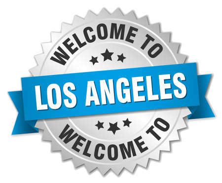 los angeles: Los Angeles 3d silver badge with blue ribbon Illustration
