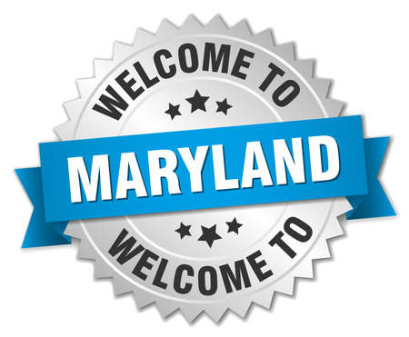 maryland: Maryland 3d silver badge with blue ribbon Illustration