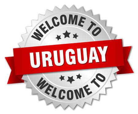 uruguay: Uruguay 3d silver badge with red ribbon