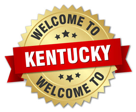 kentucky: Kentucky 3d gold badge with red ribbon Illustration