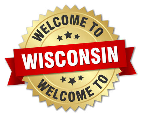 wisconsin: Wisconsin 3d gold badge with red ribbon Illustration