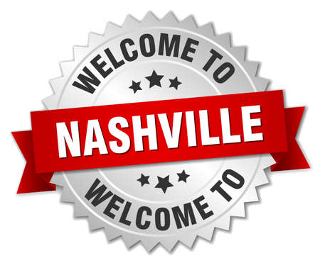 nashville: Nashville 3d silver badge with red ribbon