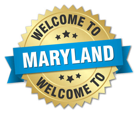 maryland: Maryland 3d gold badge with blue ribbon