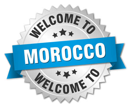 round shape: Morocco 3d silver badge with blue ribbon
