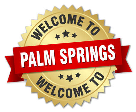 springs: Palm Springs 3d gold badge with red ribbon