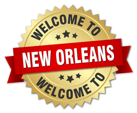 new orleans: New Orleans 3d gold badge with red ribbon