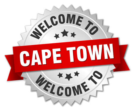 cape town: Cape Town 3d silver badge with red ribbon Illustration