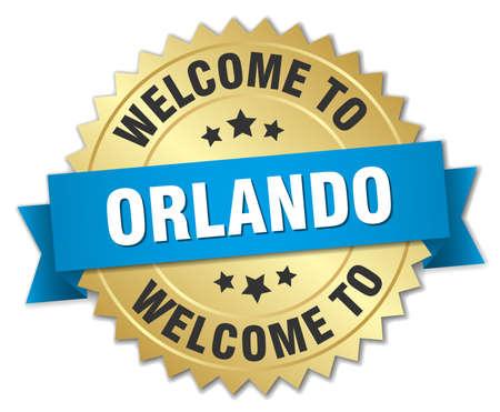 orlando: Orlando 3d gold badge with blue ribbon