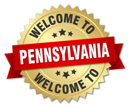 pennsylvania: Pennsylvania 3d gold badge with red ribbon Illustration