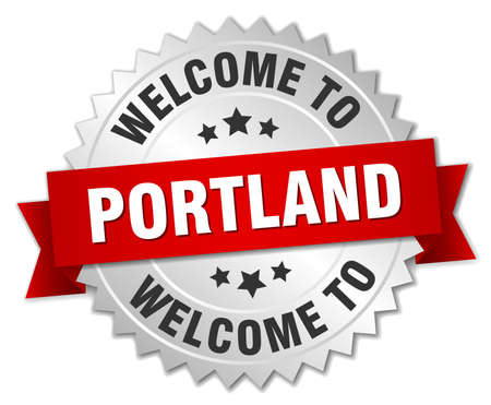 portland: Portland 3d silver badge with red ribbon