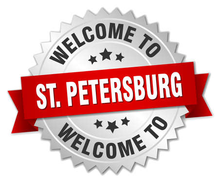 st petersburg: St. Petersburg 3d silver badge with red ribbon