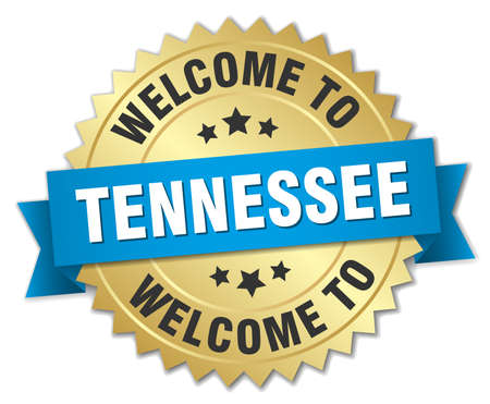 tennessee: Tennessee 3d gold badge with blue ribbon