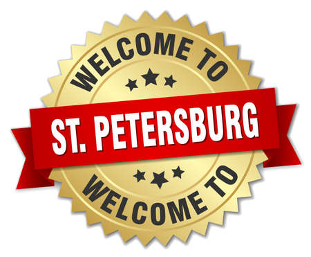 st petersburg: St. Petersburg 3d gold badge with red ribbon