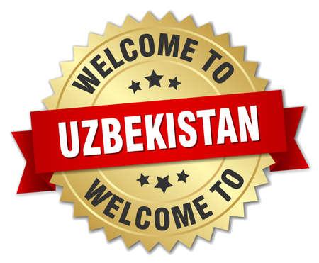 oezbekistan: Uzbekistan 3d gold badge with red ribbon Stock Illustratie