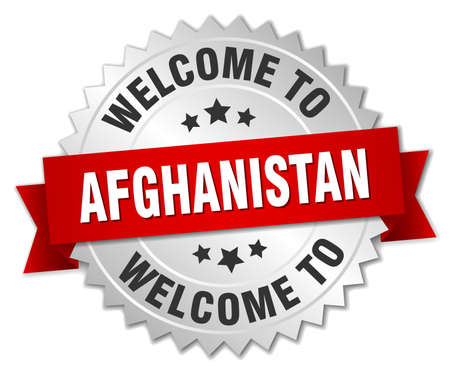 greet: Afghanistan 3d silver badge with red ribbon