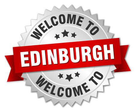 edinburgh: Edinburgh 3D Silber Abzeichen mit rotem Band