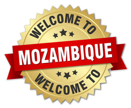 mozambique: Mozambique 3d gold badge with red ribbon